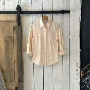 90s Minimalist Blush Linen Button Down Shirt S